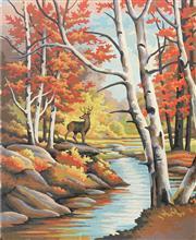Sale 8990 - Lot 2014 - Artist Unknown The Lone Deer oil on artist board (unframed), 41 x 31m, unsigned