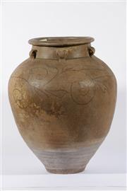Sale 9003C - Lot 617 - Brown Glazed Chinese Earthenware Vessel with Floral Motif (H: 50cm)