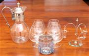 Sale 9058H - Lot 25 - A group of brandy ballons together with a epns mounted claret jug and a glass jarlet.