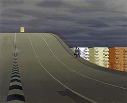 Sale 9096A - Lot 5005 - Jeffrey Smart (1921 - 2013) - Approach to a City III, 1968 54.5 x 46 cm