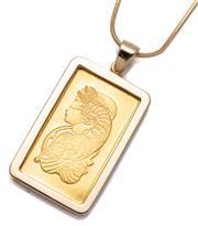 Sale 9074 - Lot 352 - A FINE GOLD INGOT PENDANT NECKLACE; 2.5g Suisse fine gold ingot no. 4962275 set in a plain frame on a snake chain in 18ct gold, leng...