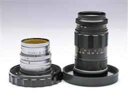 Sale 9093 - Lot 4 - A Leica Elmarit Lens 1:2, 8/90, No.2214256, Together With A Leitz Summarit Lens 1:1.5 No. 1057879 Fitted With filter
