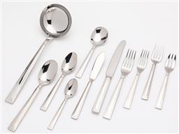 Sale 9255H - Lot 85 - A quantity of Christofle Folio stainless steel cutlery (114 pcs), together with a grey suede Christofle cutlery case;