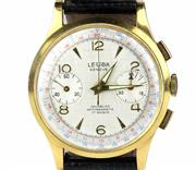 Sale 8402W - Lot 12 - LEUBA 18CT GOLD CHRONOGRAPH WRISTWATCH; fancy guilloche silver dial with applied markers, centre seconds, 2 subsidiary dials, on a 1...