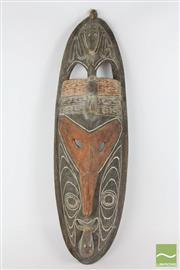 Sale 8521 - Lot 68 - Cultural Mask with Carved Crocs to top and bottom (L 80cm)