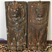 Sale 8649R - Lot 5 - Cast Iron Pair of Lions (H: 68cm W: 29cm)