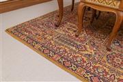 Sale 8414A - Lot 99 - A woollen compartment carpet in golds and reds, 295 x 197cm