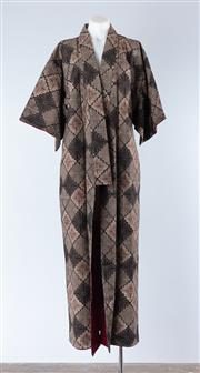 Sale 8800F - Lot 39 - A vintage Cotton Kimono with all over floral pattern on black ground.