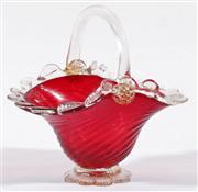 Sale 9003G - Lot 606 - Murano glass basket form bowl (H16cm)