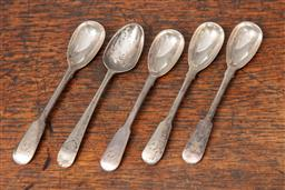 Sale 9120H - Lot 81 - A set of four George III hallmarked sterling silver fruit spoons, by John Crouch I & Thomas Hannam, together with another Georgian t...