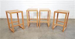 Sale 9146 - Lot 1042 - Set of 4 modern timber stools (h:65 x w:40 X D:40CM)