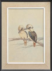 Sale 8297 - Lot 573 - Neville William Cayley (1886 - 1950) - Kookaburras 46 x 30cm