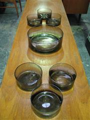 Sale 8338 - Lot 1064A - Smokey Glass Dessert Set for Six