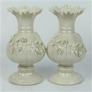 Sale 8412A - Lot 23 - Belleek Pair Of Vases height - 20cm