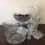 Sale 8677B - Lot 542 - A small group of sundry vases together with a flower frog and cut glass bowls, etc, tallest H 23cm
