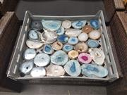 Sale 8676 - Lot 1321 - Crate Agate Slices Polished With Crystal Heart