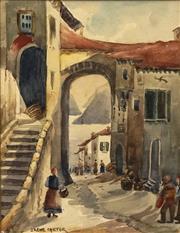 Sale 8692 - Lot 600 - Irene Carter (1900 - 1955) - Street Scene, Lugauo 25.5 x 19.5cm