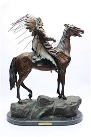 Sale 8710 - Lot 28 - Bronze On Marble Mounted Indian Chief By Carl Kauba
