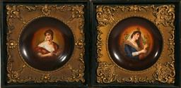Sale 9138 - Lot 96 - A Pair Of Victoria Austria Framed Bowls (Frame Size 38cm x 38cm)