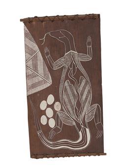 Sale 9195 - Lot 570 - JACOB NAYINGGUL (c1940 - 2012) - Goanna & Eggs 53 x 28 cm
