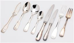 Sale 9255H - Lot 8 - Christofle silver-plated Cluny cutlery (93 pcs), in a grey suede Christofle cutlery case;