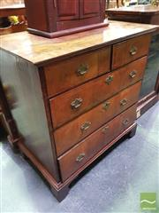 Sale 8444 - Lot 1009 - Early Georgian Walnut Chest of Five Drawers, with geometric inlay to the top & drawers, with later brass handles (restorations/ alte...