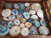 Sale 8676 - Lot 1371 - Crate Agate Slices Polished With Crystal Heart