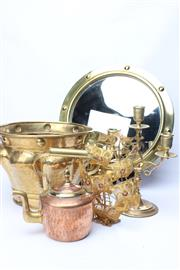 Sale 8715 - Lot 97 - Brassware Collection inc A Mirror (Dia 38cm), Jardiniere, Candle Stick Holder, A Metal Ship (AF) and Copper Tea Pot