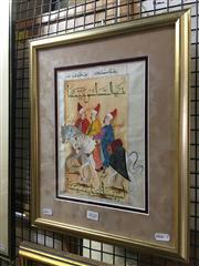 Sale 8726 - Lot 2020 - Artist Unknown - Three Men on Horseback gouache on paper, 43 x 35cm, inscribed
