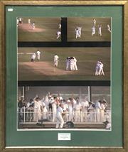 Sale 8863S - Lot 32 - Australian Cricket Team Photo Collage - Victory Dance 5th Test Trentbridge 1997, in frame