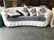 Sale 8912 - Lot 1095 - Bowed Button Backed Leather 3 Seater with Matching Cushions (125)
