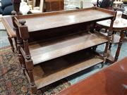 Sale 8939 - Lot 1049 - Victorian Oak Dumbwaiter, of three tiers with gallery backs & turned supports (splitting to top lanks/ distressed finish) H: 112 x W...