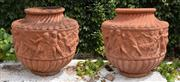 Sale 8950G - Lot 2 - Superb pair of antique Italian terracotta urns with fine relief.  Circa 1870 62 x 62cm