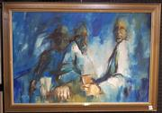 Sale 9024 - Lot 2089 - Artist Unknown Three Men at a bar, oil on board, frame: 53 x 73 cm