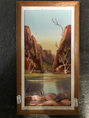 Sale 9024 - Lot 2043 - Hank Guth - Central Australian Gorge, oil on board, signed -