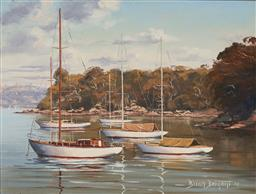 Sale 9125 - Lot 598 - Brian Baigent (1929 - ) Moorings, Mosman Bay, 1975 oil on board 29 x 39 cm (frame: 48 x 58 x 4 cm) signed and dated lower right