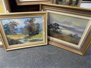 Sale 8437 - Lot 2030 - Disire Bogart (2 works) Darkness Descending & Summer Sky, oil on canvas board, various sizes, each signed lower
