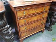 Sale 8444 - Lot 1006 - Georgian Style Walnut Chest of Four Drawers, with burr & crossbanded top, fitted slide & bracket feet