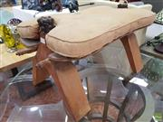 Sale 8637 - Lot 1039 - Timber Camel Stool with Cushion