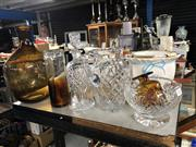 Sale 8819 - Lot 2361 - Collection of Glassware inc Crystal Cut Decanter and Coloured Bottle Vase with Another Smaller Example