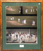 Sale 8863S - Lot 34 - Australian Cricket Team Photo Collage - Victory Dance 5th Test Trentbridge 1997, in frame