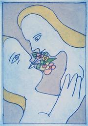Sale 8916 - Lot 597 - Charles Blackman (1928 - 2018) - The Kiss 20 x 29.5 cm