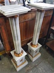 Sale 8912 - Lot 1096 - Pair of Fluted Marble Pedestals (140) (H: 108 W: 27 D: 27cm)