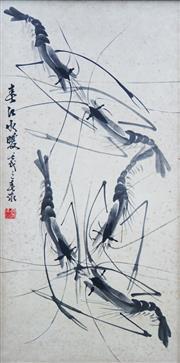 Sale 8938A - Lot 5049 - Artist Unknown - Shrimp, c1900 68 x 34 cm (frame: 71 x 37 x 4 cm)