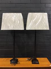 Sale 9006 - Lot 1071 - Pair of Tortoiseshell Effect Table Lamps - 5608 (H:99cm)