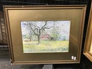 Sale 9024 - Lot 2012 - G Flemwell - Swiss Orchard 1910, watercolour, signed lower right -