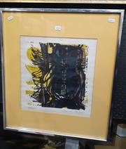 Sale 9072 - Lot 2054 - Artist Unknown Abstract Owl, colour lino cut 88/100, frame: 62 x 52 cm , signed indecipherably lower right -