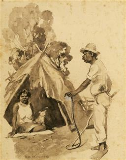 Sale 9091 - Lot 2010 - B. E Minns (1864 - 1937) Husband & Wife at Camp watercolour (AF - foxing), frame: 47 x 39cm, signed -