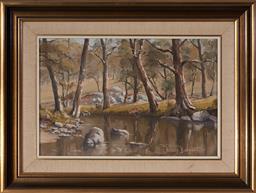 Sale 9125A - Lot 5089 - Brian Baigent (1929 - ) - Still Waters, Lower Pyramul, 1975 29 x 44.5 cm (frame: 47 x 62 x 3 cm)