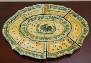 Sale 8677B - Lot 555 - A comprehensive Italian hand painted hors dóeuvres platter setting, central platter (with repaired break) measures 49cm total lengt...
